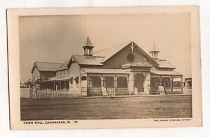 VINTAGE POSTCARD RPPC TOWN HALL, LONGREACH QLD 1900s
