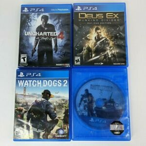 Uncharted 4 - Deus Ex - Battlefield 4 - Watch Dogs 2 Game Lot PS4, Tested
