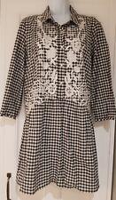 Womens Zara Boho Hippy Smock Drop Waist Black White Gingham Mini Dress Medium