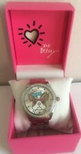 BETSEY JOHNSON Womens Crystal Embellished Red (Brown) Boston Terrier Watch NEW