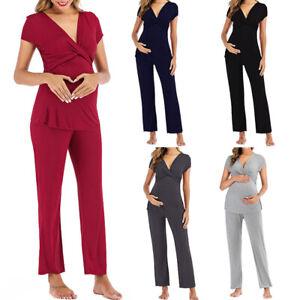 Maternity Women Pajamas Postpartum Pregnancy Lactation Nursing Home Clothes Sets