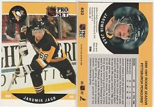 1990 Pro Set #632 Jaromir Jagr Penguins Rookie Hockey Card Stats Header Lined Up