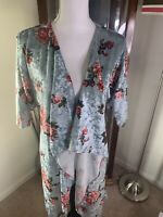 NWT Lularoe Shirley kimono Small Elegant Velvet pale blue roses floral