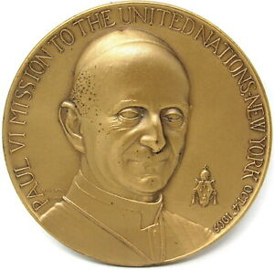 """Pope Paul VI Mission to United Nations 1965 Bronze Medal 2 1/2"""" Medallic Art Co"""