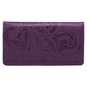 Checkbook Cover I Can Do Everything Through Him Purple faux Leather BRAND NEW