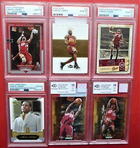 LeBRON JAMES 6 CARD LOT 2004 NBA BASKETBALL PSA 10 2nd YEAR CAVLIARS LAKERS