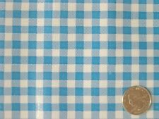 AQUA GINGHAM CHECK RETRO KITCHEN PATIO PICNIC OILCLOTH VINYL TABLECLOTH 48x72