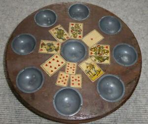 Pochspiel antik Pochbrett seltenes Sammlerstück mit Metallfüßen, guter Zustand