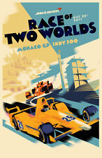 2017 DANISH MODERN POSTER by MADS BERG, RACE OF TWO WORLDS (MONACO GP, INDY 500)