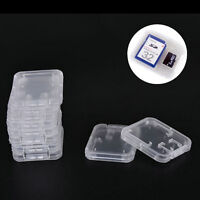10PCS Transparent Standard SD SDHC Memory Card +TF Card Holder Case Storage Box