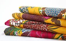 Yellow Cotton Fabric Indian Decorative Crafting Floral Print Sewing By The Yard