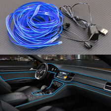 Blue 5m Universal Car Interior Neon Strip Atmosphere Decor Light LED USB Port