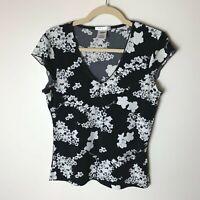 Old Navy Women's Top Size Medium Short Cap Sleeves Floral V-Neck Black White