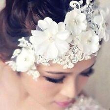 TIARA DIADEM bianco fiori pizzo perle strass accessorio per capelli sposa Testa