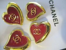 CHANEL 4  RED GOLD Tone HEARTS METAL ENAMEL ,STAMPED buttons 22mm cc logo LOT 4