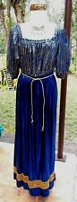 Royal Blue/Metallic Gold & Silver Renfaire Medieval Costume w/Necklace,Hdpc M-L