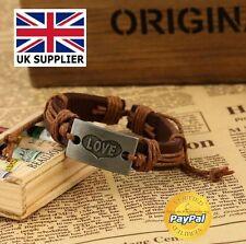 Love Bracelet Adjustable Wristband Faux Leather Love Charm Unisex New Fashion