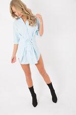 Womens Button Denim Mini Shirt Dress Eyelet Corset Front Detail Tie Lace Up Belt
