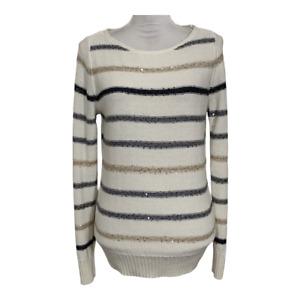 White House Black Market Women Sweater Crew Neck Striped Sequins Size Medium