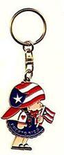 "Puerto Rico Little Girl ""Niña"" Holding Flag Key-chain"