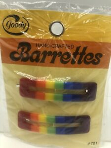 Vintage 1970s Goody Rainbow Barrettes Wire Clasp Pkg 2 Open Rectangle