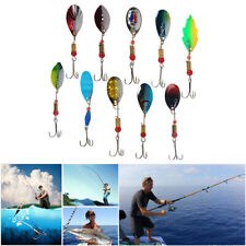 10 Pcs Fishing Lures Kit Spinner Baits Metal Hooks For Bass Trout Walleye Salmon