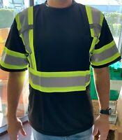 Short Sleeve Black High Visibility Safety Shirt  Choose size