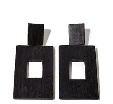 N Natori Painted Acacia Black Wood Rectangular Drop Earrings