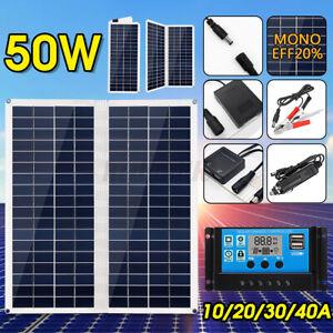 50W Foldable Solar Panel Monocrystalline Dual USB For Phone Camping  F R