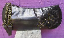 Fossil Floral Studded Black Leather Chain Wristlet Boho Bag