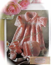 Vintage Knitting Pattern Baby's Dress, Bonnet & Bootees. 4 Sizes. So Pretty!!