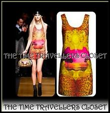 VERSACE H&M ORANGE SUNSET ANIMAL STAMPA DESIGNER SEQUIN MINI DRESS UK 8 34 4