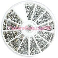 3 Size 1.5 / 2 / 3mm Round Silver Rhinestones Nail Art Decoration