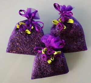 THERAPEUTIC BLUE LAVENDER IN ORGANZA BAGS. 3 BAGS OF HIGH QUALITY LAVENDER