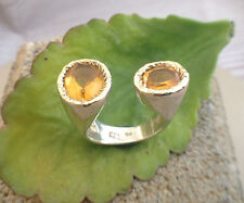 Statement Citrine oval ring, sterling silver 14K yellow gold, natural gemstone
