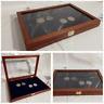 Cofanetto Astuccio per monete vetrinetta per collezionismo Mogano interno Blu