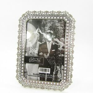 Green Tree Gallery Picture Photo Frame Tabletop 4x6 Faux Silver Pearl Jeweled