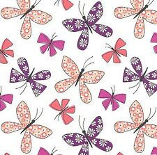 Saturday Morning - Chasing Butterflies - White by Michael Miller Fabrics.