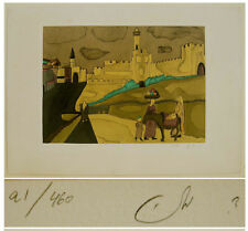 HAND SIGNED Color LITHOGRAPH ART Judaica OLD JERUSALEM WALLS Bible DAVID TOWER
