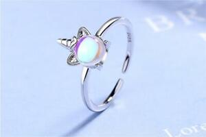 925 Unicorn Ring Sterling Silver Plated + Moonstone, Girls Open Band Adjustable