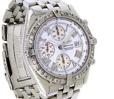 BREITLING Crosswind Watch White Roman Dial Custom Diamond Bezel A13355