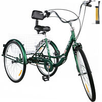 Foldable Tricycle Adult 26'' Wheels Adult Tricycle 1-Speed 3 Wheel Green Bikes
