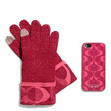 """COACH Boxed """"Pink Scarlett"""" iPhone 5 CaseI with Touch Gloves Set"""