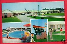 SUMMERTON SC WINDSOR MOTEL & DINING ROOM  POOL LAWN CHAIRS OLD CARS  POSTCARD