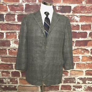 ERMENEGILDO ZEGNA Soft Windowpane  Silk Blend  Blazer Sport Coat Jacket - 46 R