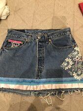 LEVI'S 501 Customised Denim Boho Mini Skirt size 31 W Size 8 To 10