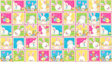 "Easter Bunny Rabbit Chick Egg Block Cotton Fabric HG&Co Hop To It 24""X44"" Panel"