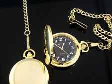 New Smooth GOLD FOB Pocket Watch BLACK DIAL Big Numbers Easy to Read - FREE POST