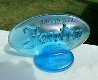 """Fenton Blue Carnival Glass Oval Display Logo Dealer Sign 5""""L x 2.75""""H"""