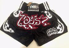 NWT Top King Muay Thai Sporting MMA K1 Kick Boxing Satin Shorts XL Black Silver
